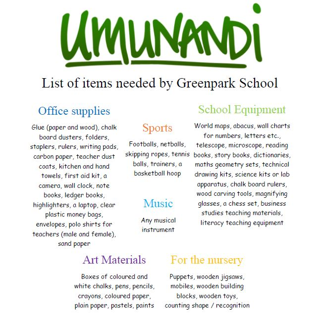 List of items needed for Umunandi charity