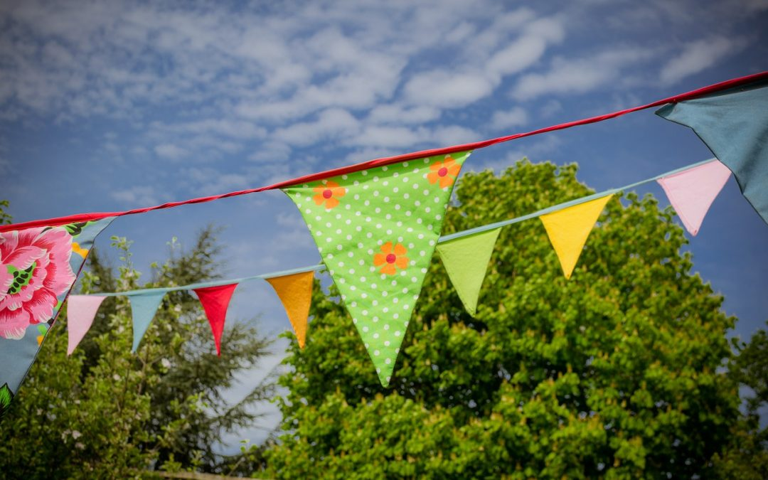 A picture of bunting against a blue sky